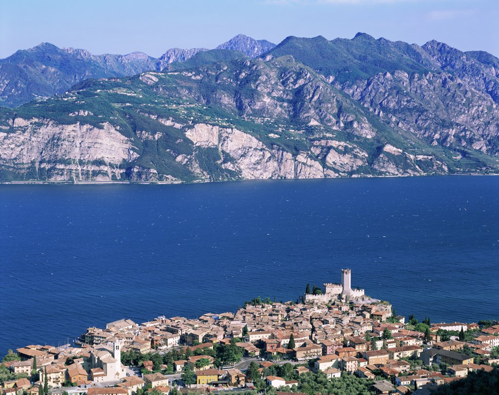 Aerial view of buildings, Lake Garda, Malcesine, Italy : Stock Photo