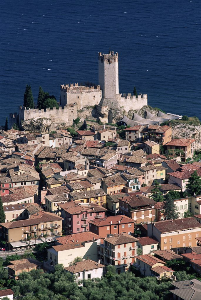 High angle view of buildings, Lake Garda, Malcesine, Italy : Stock Photo