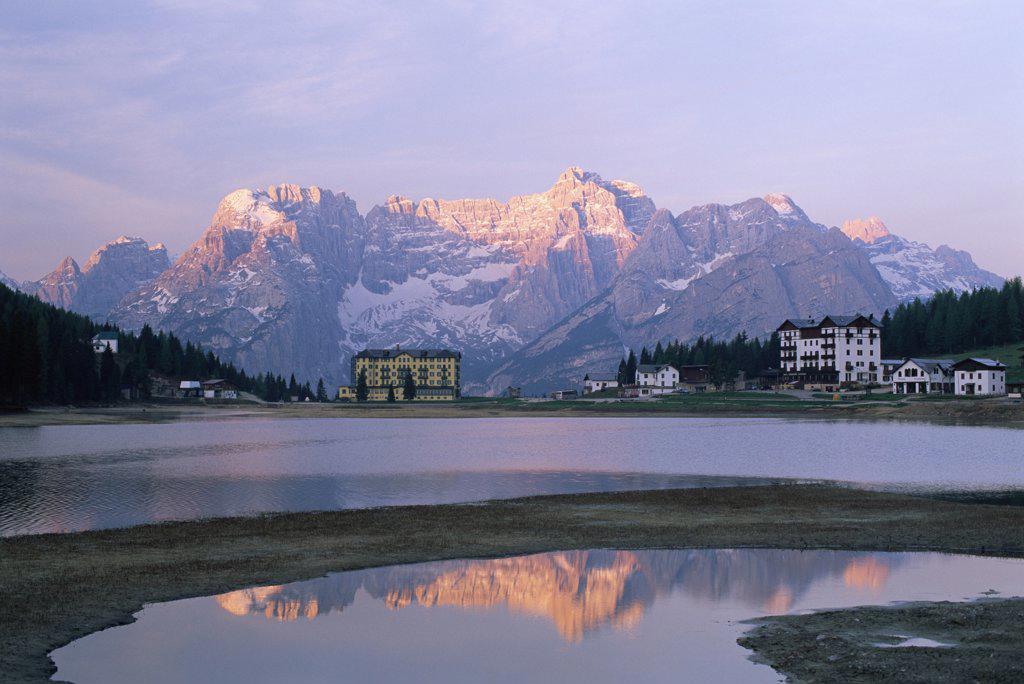 Reflection of mountains in a lake, Lake Misurina, Italy : Stock Photo