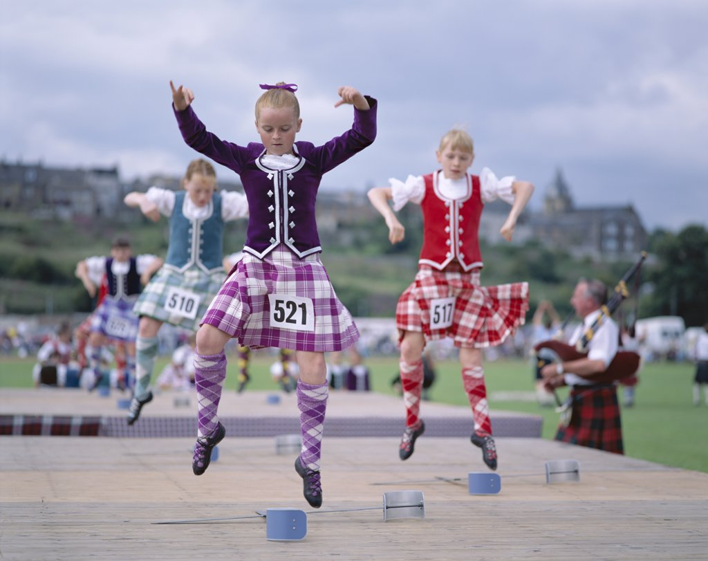 Stock Photo: 442-W9692 Group of girls Highland dancing, Highland Games, Highlands, Scotland