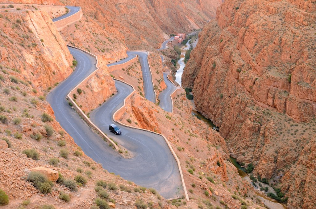 Stock Photo: 4421-32846 Mountain pass with hairpin bends on road, Dades Gorge, Atlas Mountains, Morocco, january