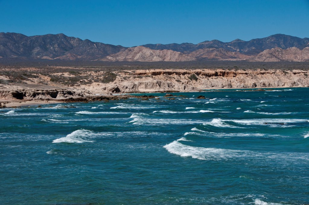 Stock Photo: 4421-33011 View of sea and coastline, Cabo Pulmo National Marine Park, Baja California Sur, Mexico, march