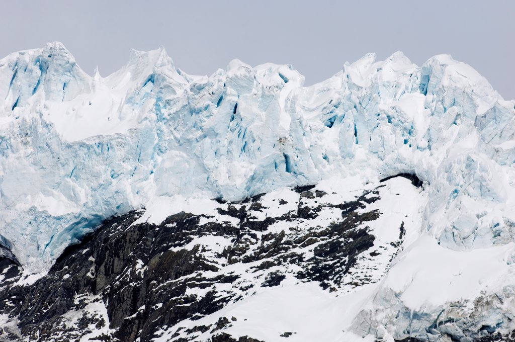 View of hanging glacier, Bertrab Glacier, Gold Harbour, South Georgia, november : Stock Photo