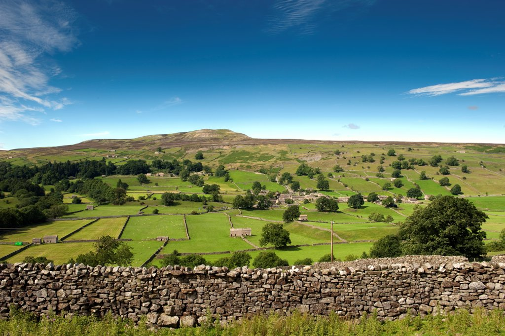 Stock Photo: 4421-33761 Village of Healaugh below Calver Fell, Swaledale, Yorkshire Dales, North Yorkshire, England, july
