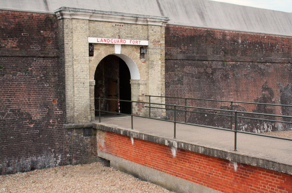 Stock Photo: 4421-33787 Entrance to coastal fort, Landguard Fort, Landguard Peninsula, Felixstowe, Suffolk, England, august