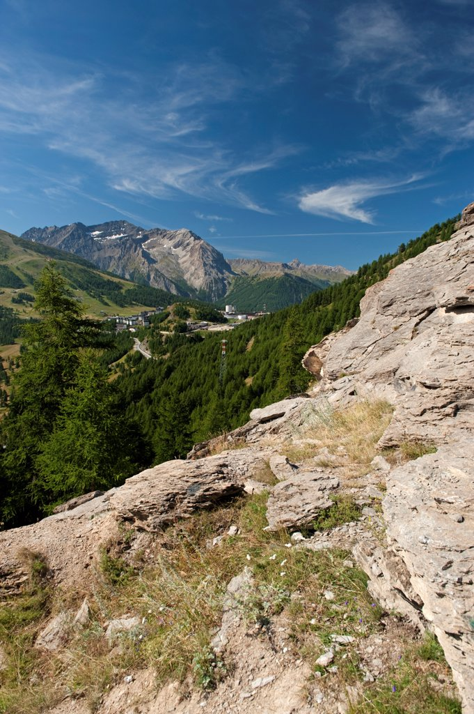 Stock Photo: 4421-35413 View over mountain valley, view over Sestriere towards Montgenevre at French border, Piedmont, Alps, Northern Italy