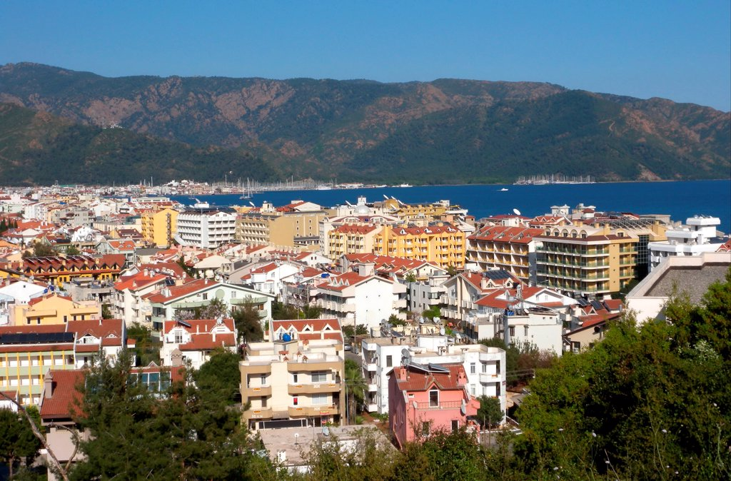 Stock Photo: 4421-35608 View over town towards bay, Marmaris, Mugla Province, Turkey, april
