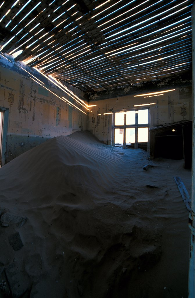 Stock Photo: 4421-35720 Namibia Kolmanskop Diamond Mine Ghost town building after 40 yrs exposed to desert elements