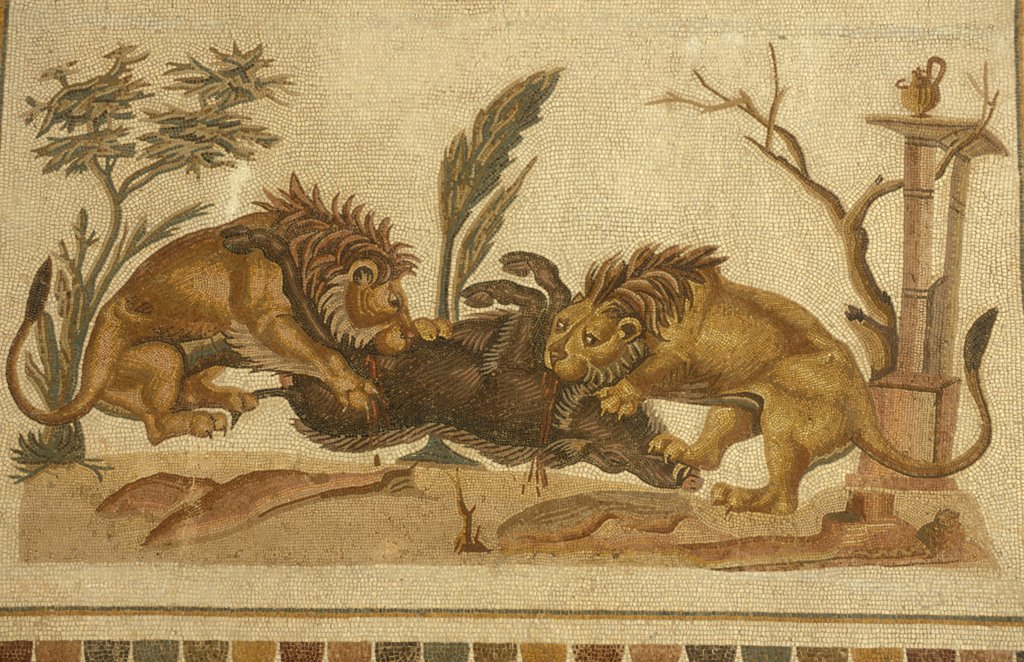 Stock Photo: 4421-35746 Mosaic, lions eating boar, 2nd century, Museum of El-Jem, El-Jem (Thydrus), Tunisia