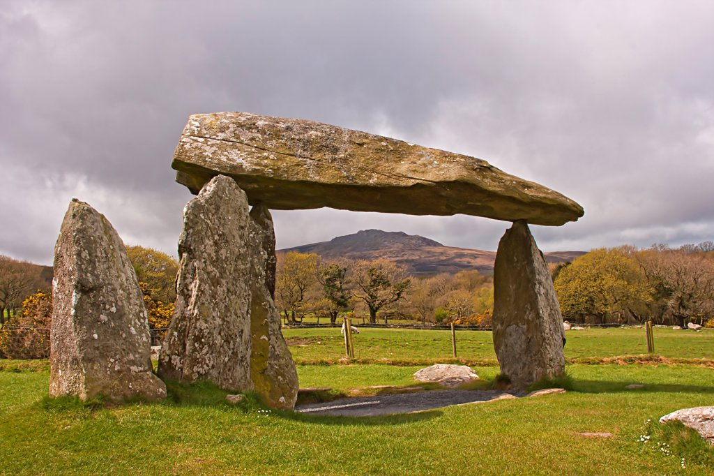 Neolithic dolmen, Pentre Ifan Dolmen, Pembrokeshire, Wales, april : Stock Photo
