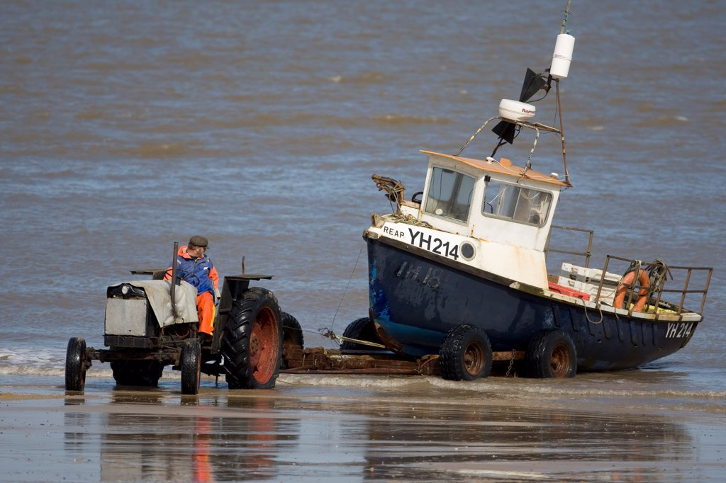 Tractor and trailer landing fishing boat on beach, Cromer, Norfolk, England, march : Stock Photo