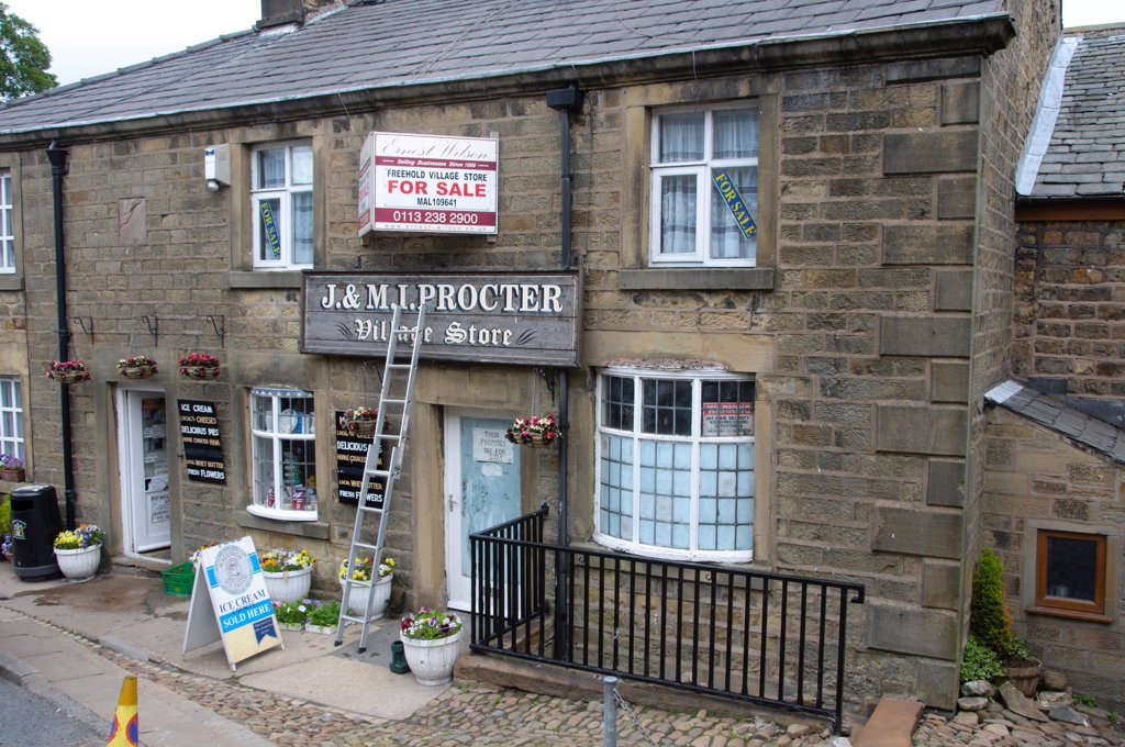 Village shop for sale, Chipping, Lancashire, England, june : Stock Photo