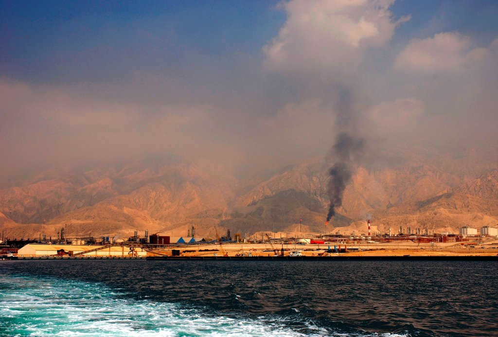 Stock Photo: 4421-41064 View of port and oil refineries, Zagros Mountains in distance, Assalouyeh, Pars Special Energy Economic Zone, Persian Gulf, Southern Iran