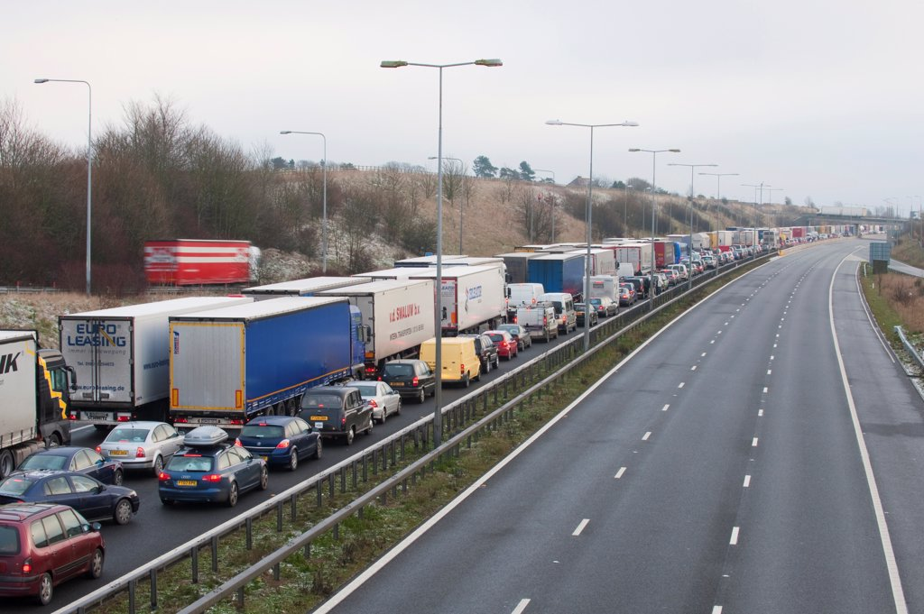 Stock Photo: 4421-41553 Congested motorway with cars and lorries, M20 Motorway, Kent, England, winter