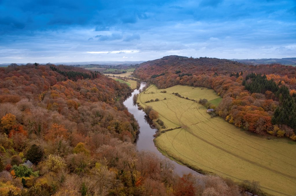 View of woodland, river and pastures, River Wye, Symonds Yat, Forest of Dean, border between Herefordshire and Gloucestershire, England, November : Stock Photo