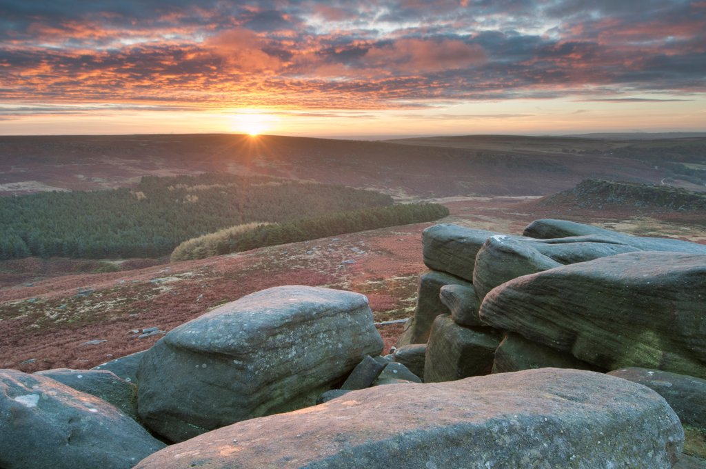 Stock Photo: 4421-44414 View of rocks and moorland habitat at sunrise, looking from Higger Tor towards Burbage Moor, Peak District N.P., Derbyshire, England, October