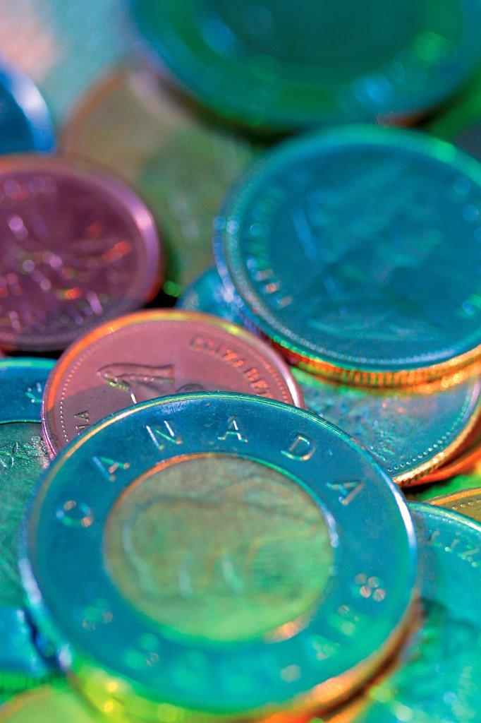 Stock Photo: 4422R-10912 Canadian dollar coins
