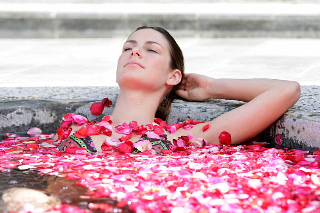 Stock Photo: 4422R-11364 Woman having flower bath, Sabah, Malaysia