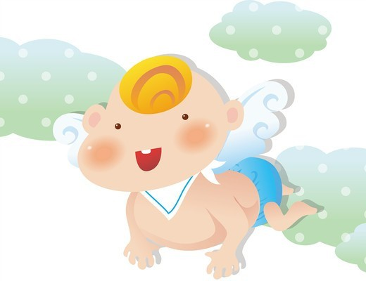 Stock Photo: 4422R-6832 Baby angel on a blue clouds.