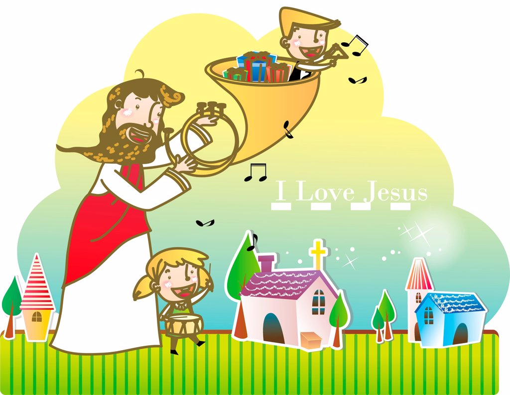 Stock Photo: 4422R-7209 Jesus Christ and the Children
