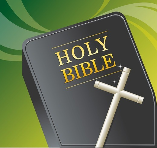 Stock Photo: 4422R-7256 Bible and Cross