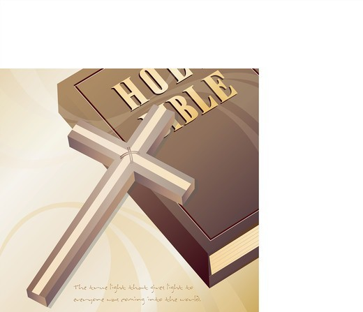 Stock Photo: 4422R-7261 Bible and Cross