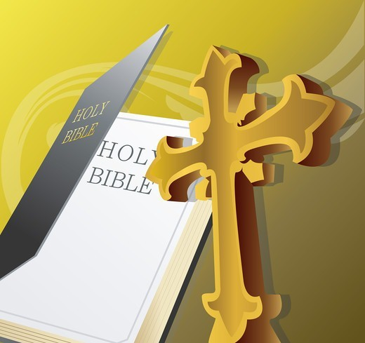 Stock Photo: 4422R-7264 Bible and Cross