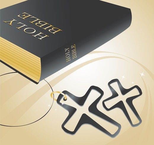 Stock Photo: 4422R-7268 Bible and Cross