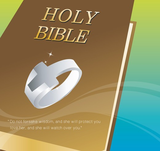 Stock Photo: 4422R-7272 Bible and Cross