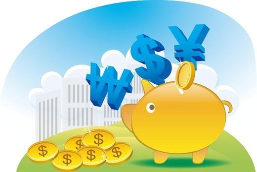 Piggy bank and dollars : Stock Photo