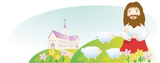 Good Shepherd and the Sheep : Stock Photo
