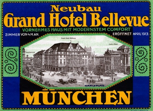 Luggage label from 1916 for Grand Hotel Bellevue, Germany. : Stock Photo