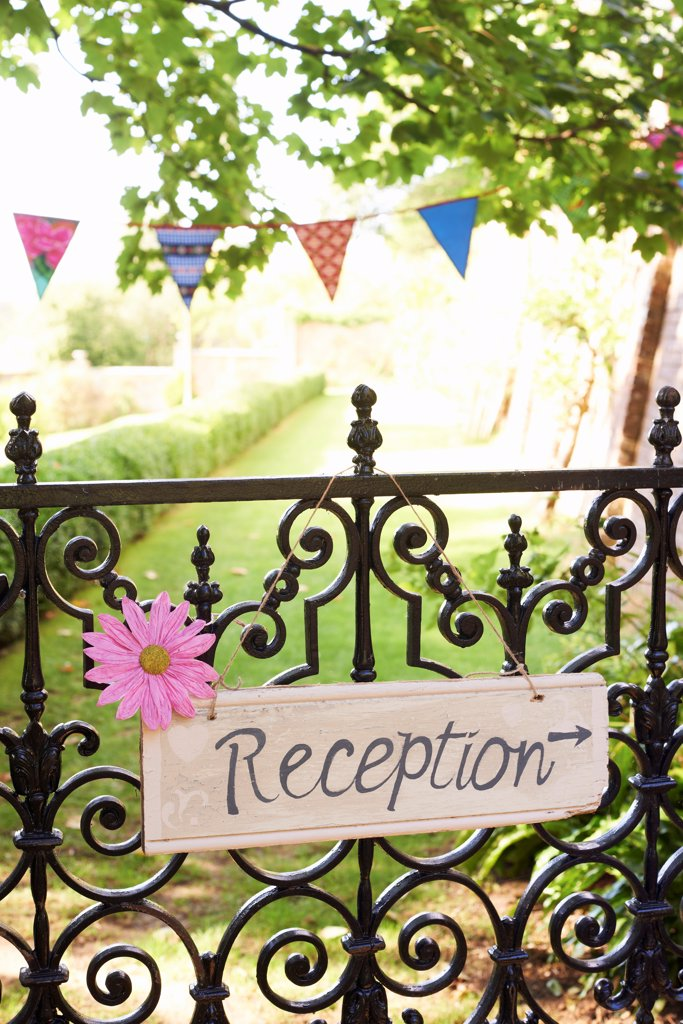 Stock Photo: 4428R-3462 Reception' sign on wrought iron fence,belmonthouse, UK