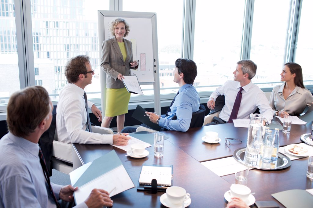 Stock Photo: 4428R-3479 Businesswoman talking in meeting,Hamburg, Germany