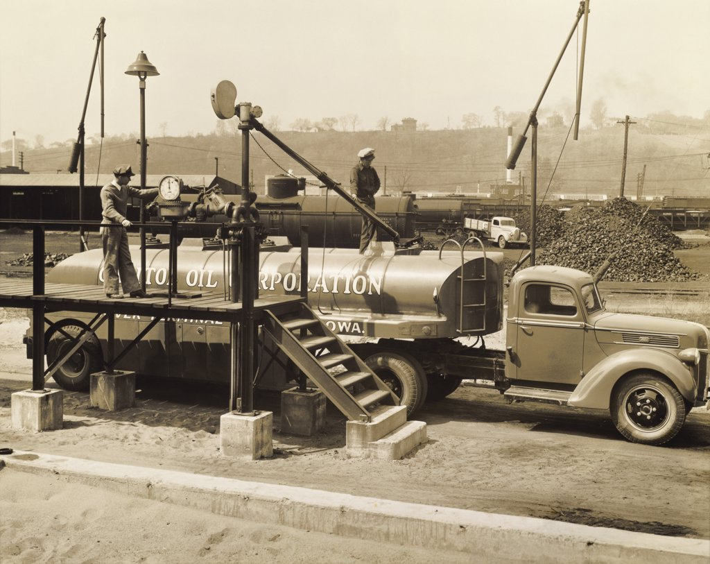 Tanker parked near steps, 1943 : Stock Photo