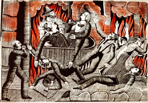 "Stock Photo: 4430-10944 press/media tabloid illustration """"Parisian Opera fire"""" woodcut Paris circa 1840 private collection,"