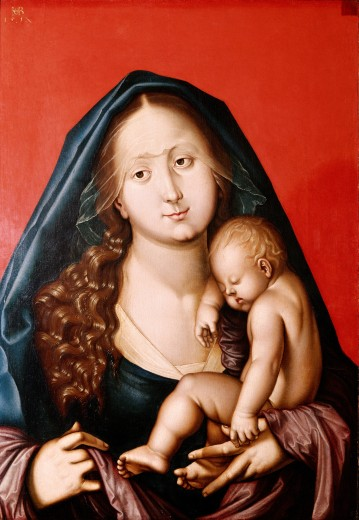 "fine arts, Baldung, Hans called Grien, (1484 / 1485 - 1545), painting, """"Madonna mit dem Kind"""", (""""Madonna with the child""""), 1520, Augustine museum, Freiburg, Germany, Europe, religion, christianity, religious art, 16th century, renaissance, Saint Mary, Jesus Christ, sleeping, : Stock Photo"