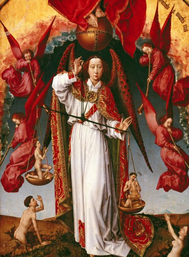 Stock Photo: 4430-2634 fine arts, Weyden, Rogier van der (circa 1399/1400 - 1464), altarpiece, the last Judgement, detail, archangel Michael weighing the souls of the resurrected, 1448 - 1451, oil on panel, 215 cm x 560 cm, HÈtel-Dieu, Beaune, religious art, religion, christianity, France, gothic, altar, painting, Hotel-Dieu, HÈtel, Hotel, Dieu, scale, angels,