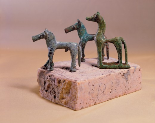 Stock Photo: 4430-3484 fine arts, ancient world, Greece, sculpture, three horses, bronze, 740 - 720 BC, Badisches Landesmuseum, Karlsuhe,