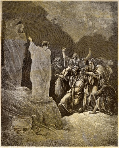 Stock Photo: 4430-3584 fine arts, Dore, Gustave (1832 - 1883), illustration, The witch of endor calling up the ghost of the prophet Samuel at the demand of King Saul, wood engraving, Paris, France, private collection,