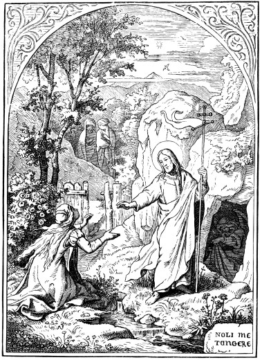 "Stock Photo: 4430-8891 religion biblical scene """"Noli me tangere"""" (Do not touch me) woodcut coloured by Ludwig Richter (1803 - 1884) Germany 19th century,"