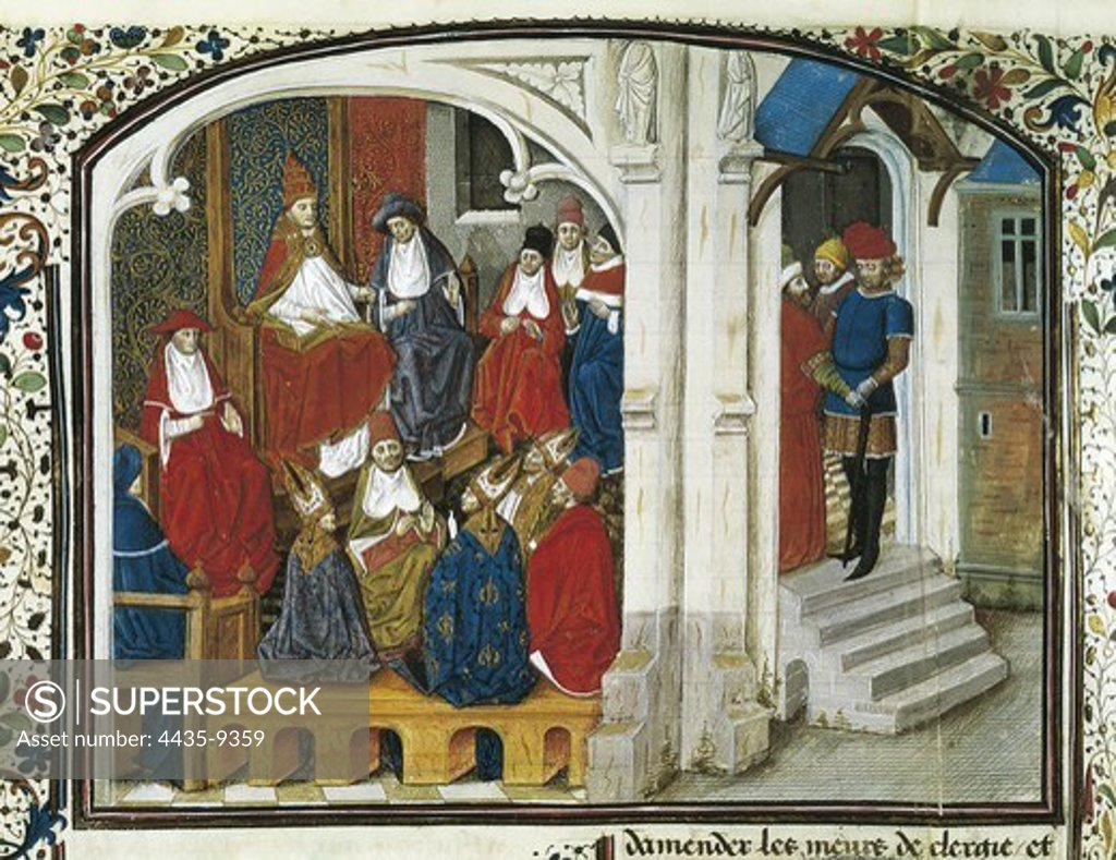Stock Photo: 4435-9359 First Crusade. Urban II preaching the First Crusade in the Council of Clermont (1095). Picture of the Chronicle by Guillaume de Tyr (13th c.). Gothic art. SWITZERLAND. Geneva. Public and University Library.