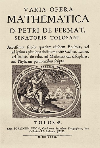 Stock Photo: 4435-10355 FERMAT, Pierre de (1601-1665). French lawyer, famous for his work in mathematics. Varia Opera Mathematica (1659). Title page. SPAIN. CATALONIA. Barcelona. Biblioteca de Catalunya (National Library of Catalonia).