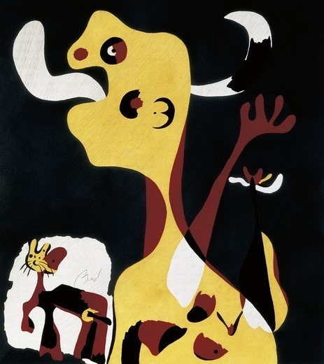 MIRO, Joan (1893-1983). Pochoir. 1936. Surrealism. Engraving. Private Collection. : Stock Photo