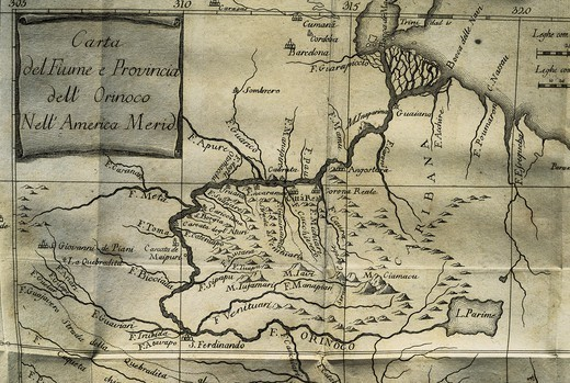 Stock Photo: 4435-11938 GILII, Filippo Salvatore (1721 - 1789). Italian Jesuit priest and linguist who lived in Nueva Granada (Venezuela) on the Orinoco. He studied the nature of languages. Map depicting Orinoco river and province, located in South America. From Filippo Salvatore's 'Saggio di Storia Americana o sia Storia Naturale, Civile, e Sacra De regni, e delle provincie Spagnuole di Terra-ferma nell' America meridio'.