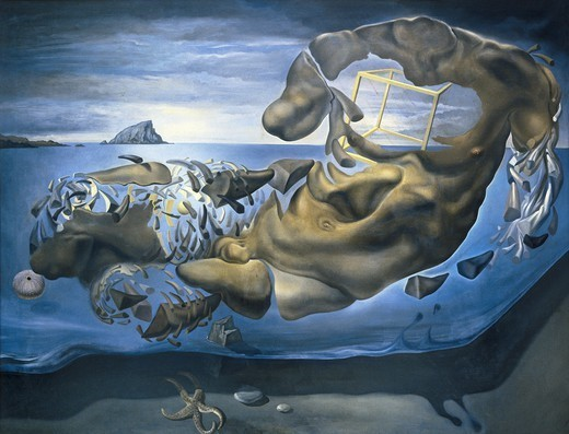 Stock Photo: 4435-1329 DALI, Salvador (1904-1989). Rhinocerotic Figure of Ilissos of Phidias. 1954. Surrealism. Oil on canvas. Private Collection.