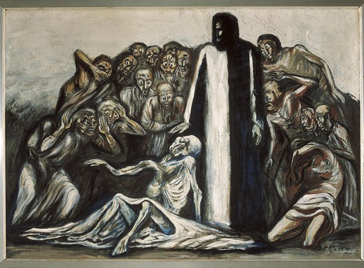 OROZCO, Jos_ Clemente (1883-1949). Resurrection of Lazarus. 1943. Mexican Mural Painting. Painting. MEXICO. FEDERAL DISTRICT. Mexico City. National Museum of Popular Arts. : Stock Photo