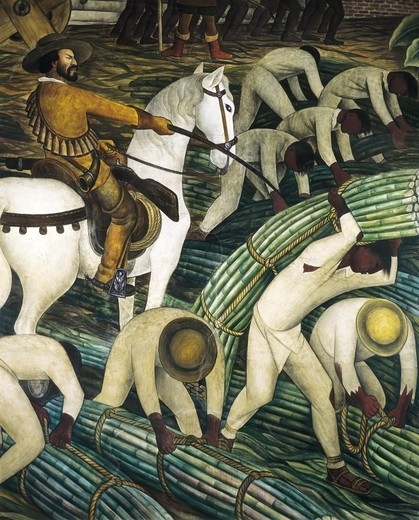 Stock Photo: 4435-1506 RIVERA, Diego (1886-1957). Construction of the Palace of Cortes. 1930-1931. MEXICO. Cuernavaca. Cortes' Palace. Detail of western wall depicting Indians harvesting sugar cane. Mexican Mural Painting. Fresco.