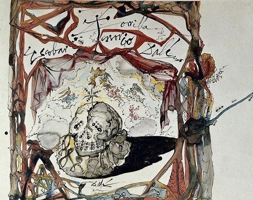 DALI, Salvador (1904-1989). Sketch for the poster of 'Don Juan Tenorio' by Zorrilla. 1950. Version of the play directed by Luis Escobar and at the Teatro EspaÐol (Spanish Theatre) in Madrid. Surrealism. Painting. : Stock Photo