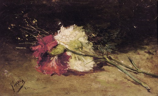 SOROLLA, Joaqu'n (1863-1923). Carnations. Post-Impressionism. Oil on canvas. SPAIN. Valencia. San Pio V Fine Arts Museum. : Stock Photo